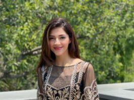 Mehreen Pirzada in black Imrozia premium kurta