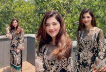 Mehreen Pirzada in black Imrozia premium kurta -featured
