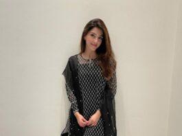 Mehreen Pirzada in black kurta set by Nada Tai