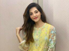 Mehreen Pirzada in yellow kurta set by Ammara Khan