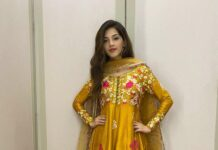 Mehreen Pirzada in yellow salwar suit by ansab jahangir