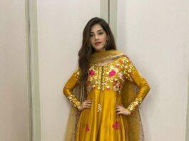 Mehreen Pirzada in yellow salwar suit by ansab jahangir