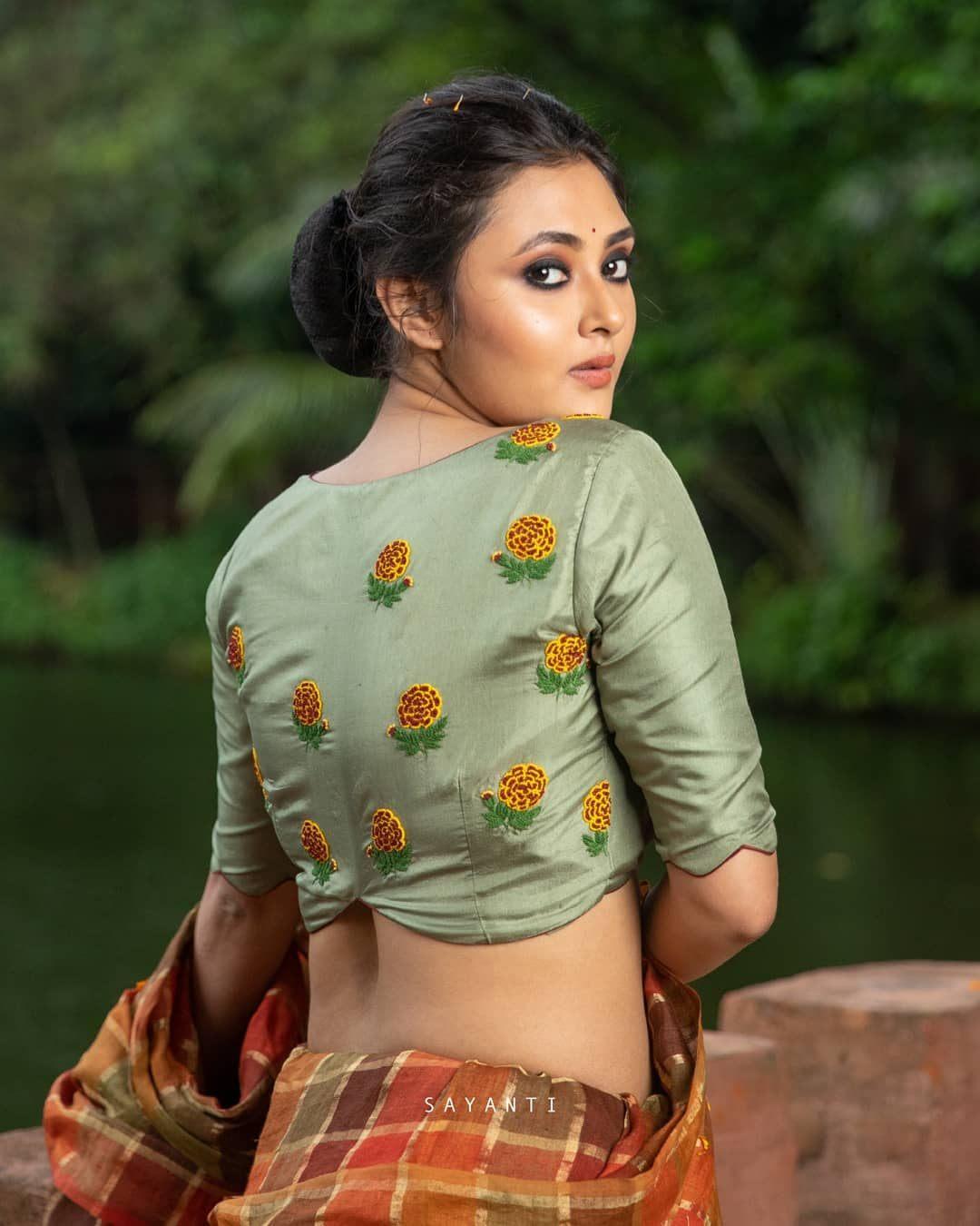 Mint marigold embroidery blouse-sayanti Ghosh