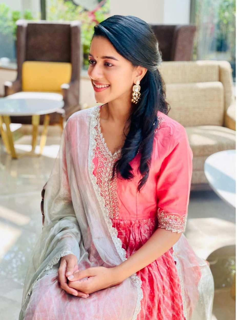 Mirnalini Ravi in a peach salwar suit by AARNA LABEL-2