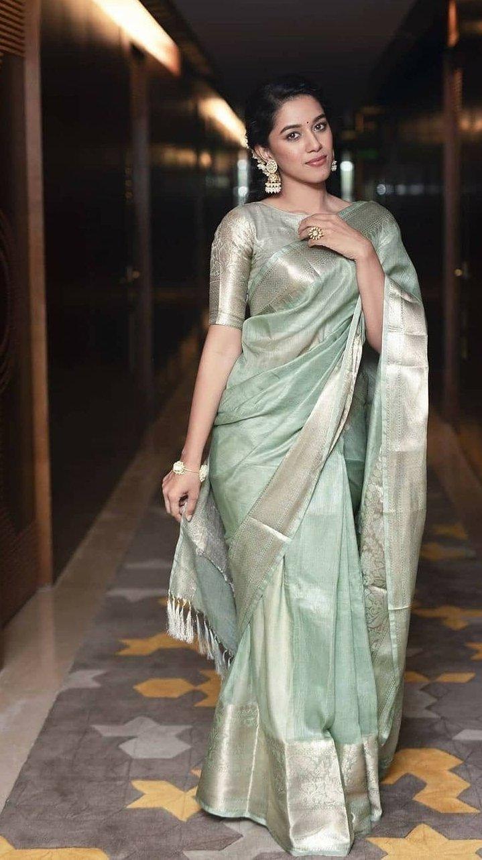 Mirnalini Ravi in mint green pattu saree for MGR Magan launch