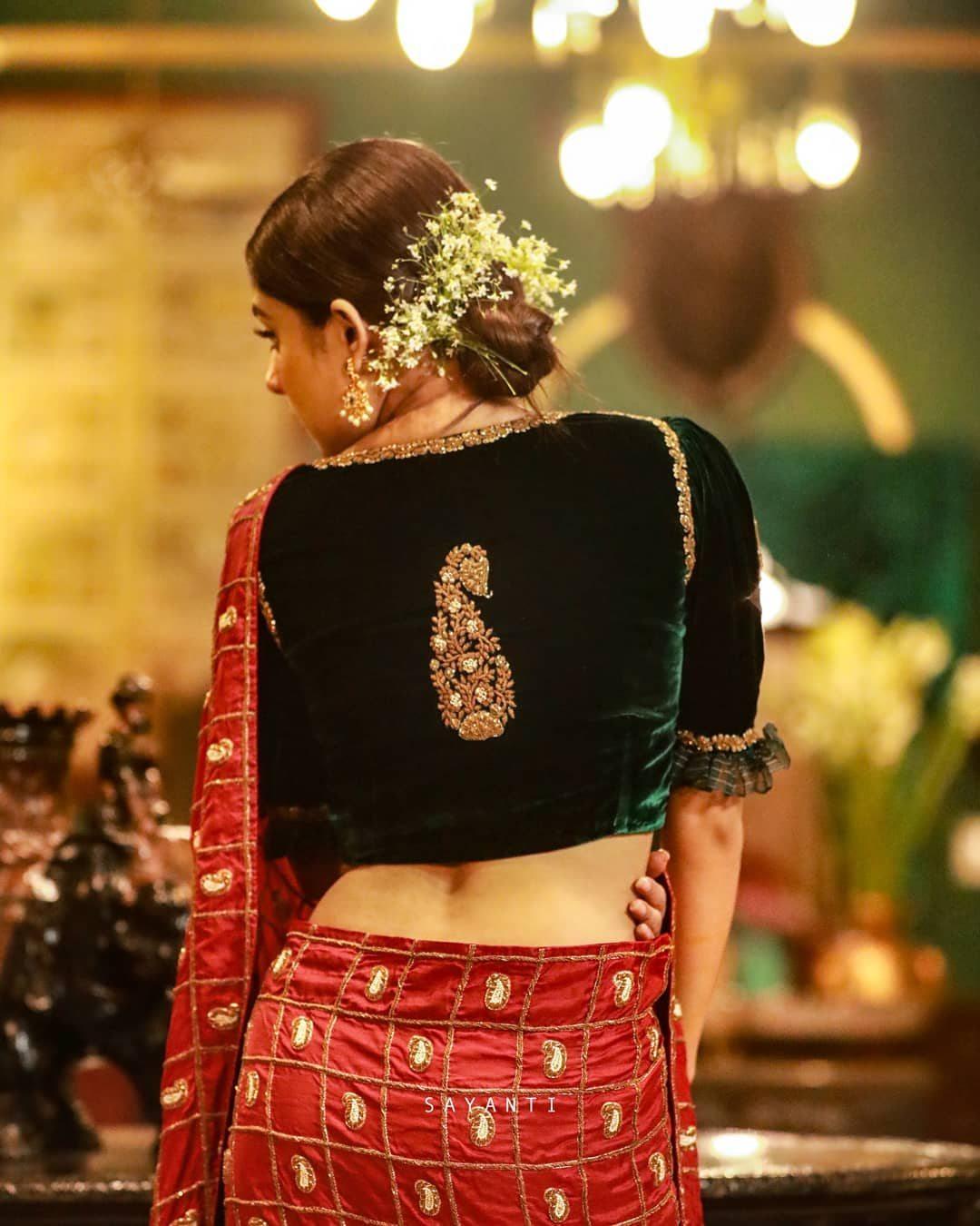 Organza frilled velvet blouse-Sayanti ghosh-1
