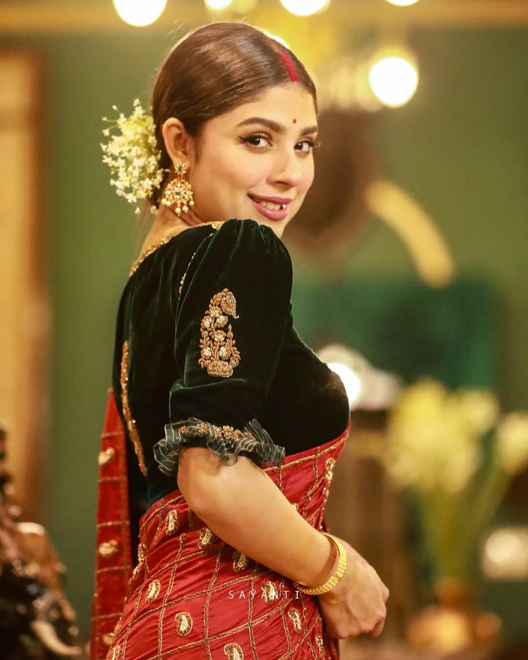 Organza frilled velvet blouse-Sayanti ghosh