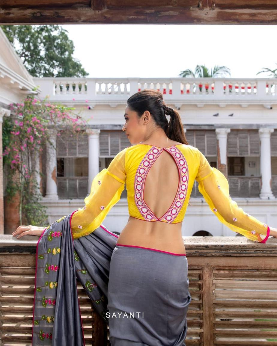 Organza party wer blouse with grey silk saree-Sayanti Ghosh-2