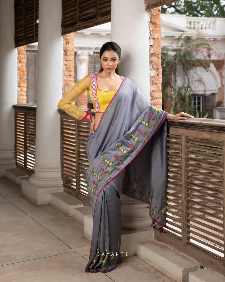 Organza party wer blouse with grey silk saree-Sayanti Ghosh