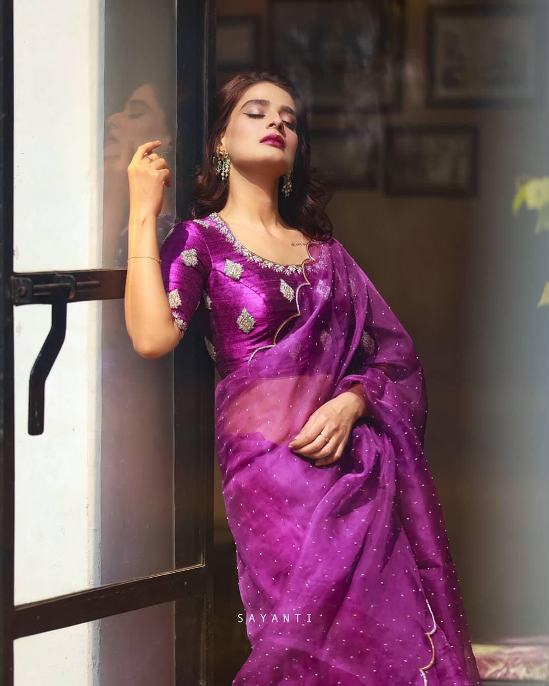 Organza scalloped purple saree with blouse-Sayanti Ghosh-1