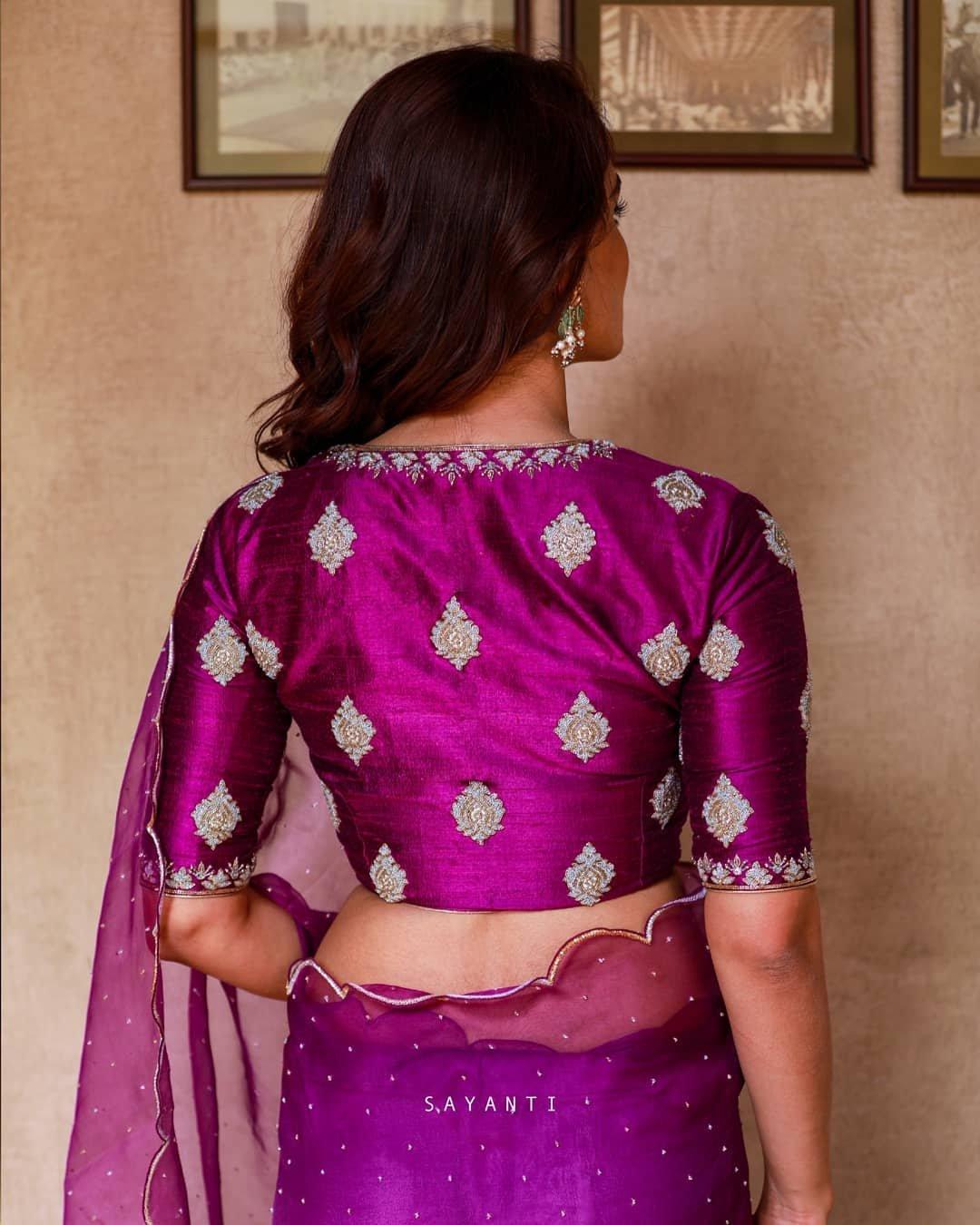 Organza scalloped purple saree with blouse-Sayanti Ghosh-2