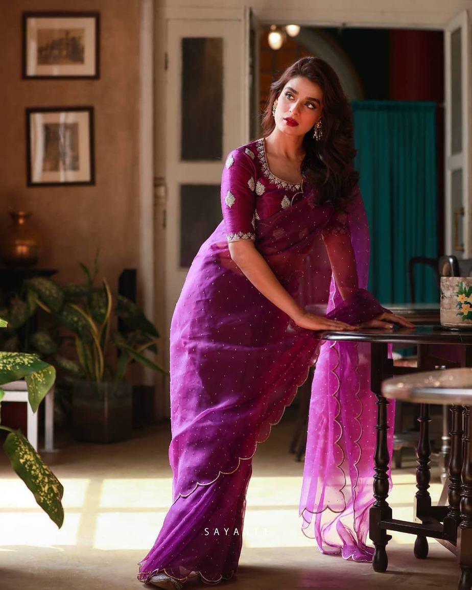 Organza scalloped purple saree with blouse-Sayanti Ghosh