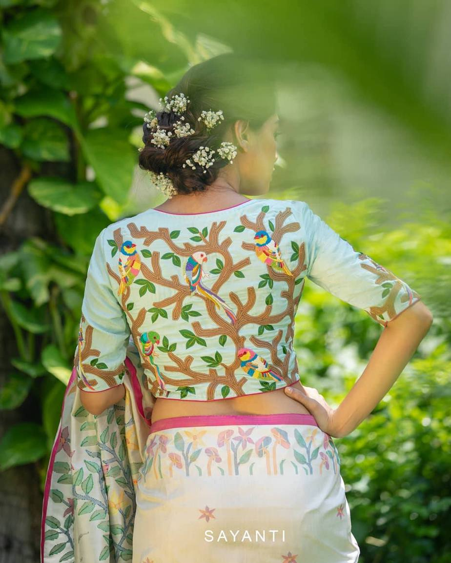 Parrot embroidery blouse-sayanti ghosh