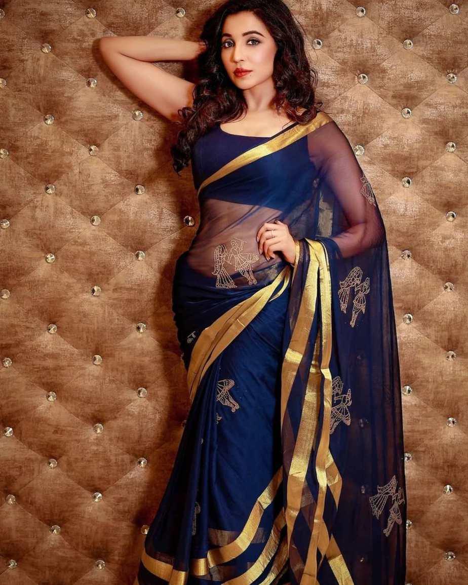 Parvati Nair in a navy blue organza saree-4