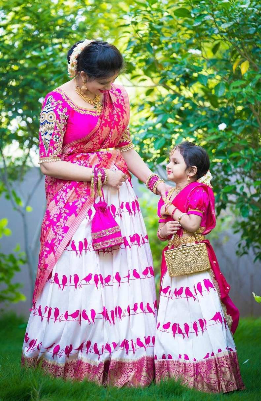 Pink and white half saree -Sumaya designer-1