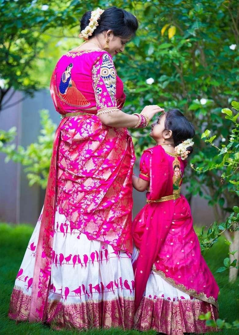 Pink and white half saree -Sumaya designer