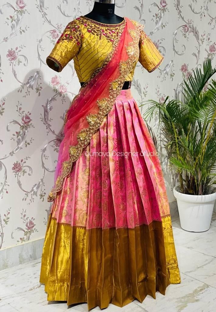 Pink and yellow half saree -Sumaya Designer-1