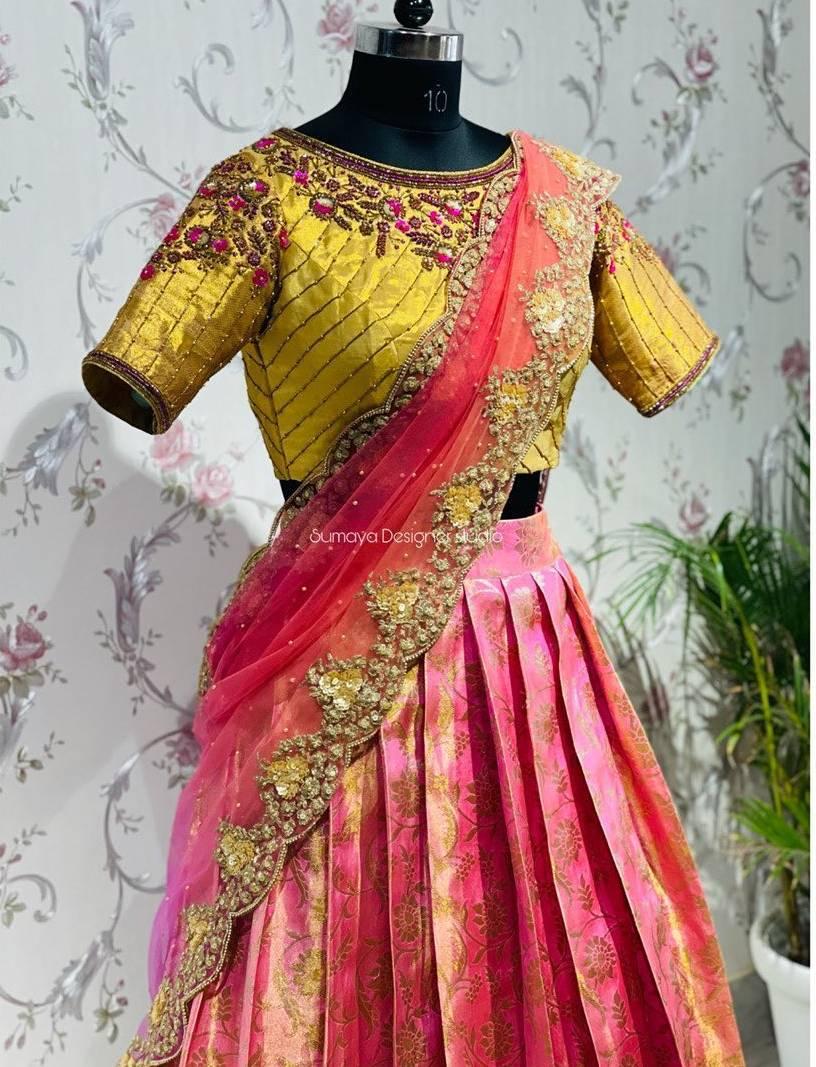 Pink and yellow half saree -Sumaya Designer