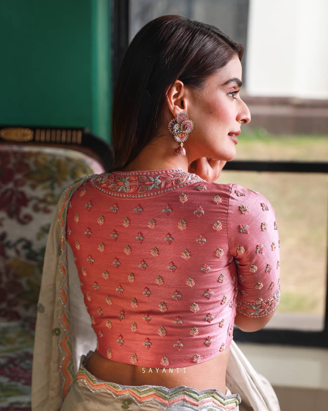 Pink embroidered blouse-Sayanti Ghosh-1