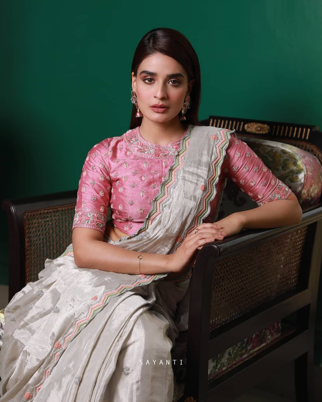Pink embroidered blouse-Sayanti Ghosh