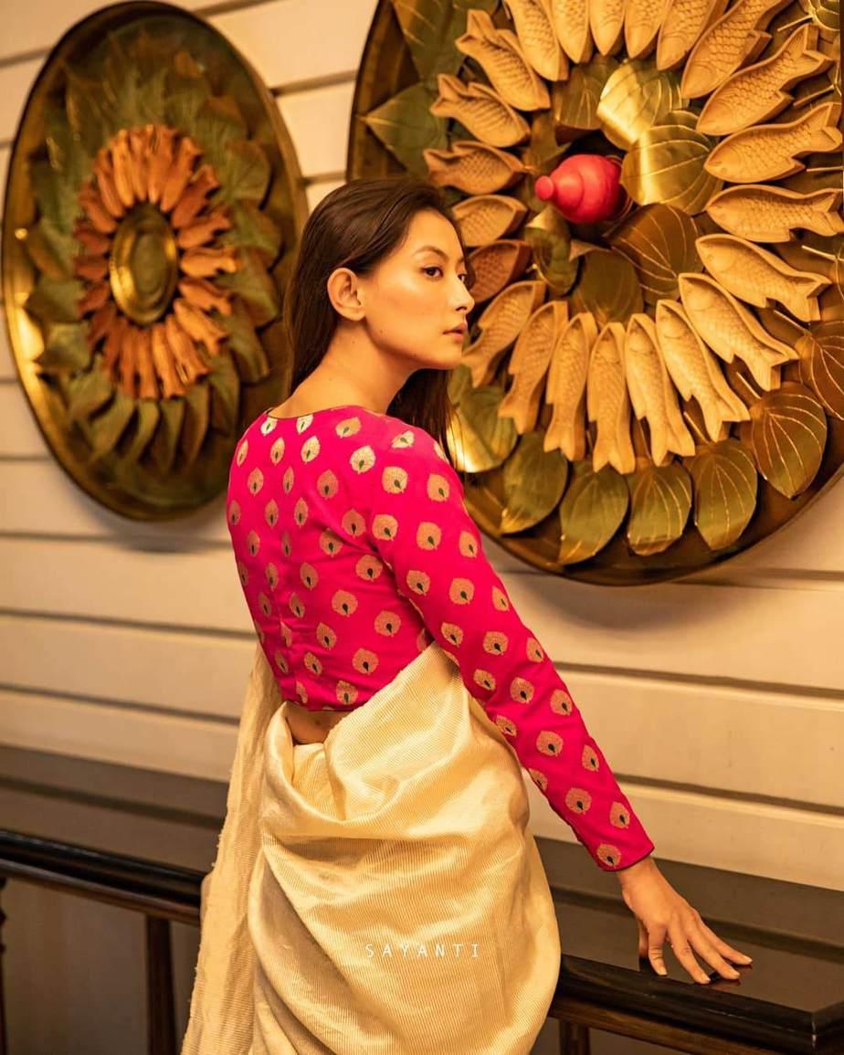 Pink full sleeve brocade blouse-sayanti-1