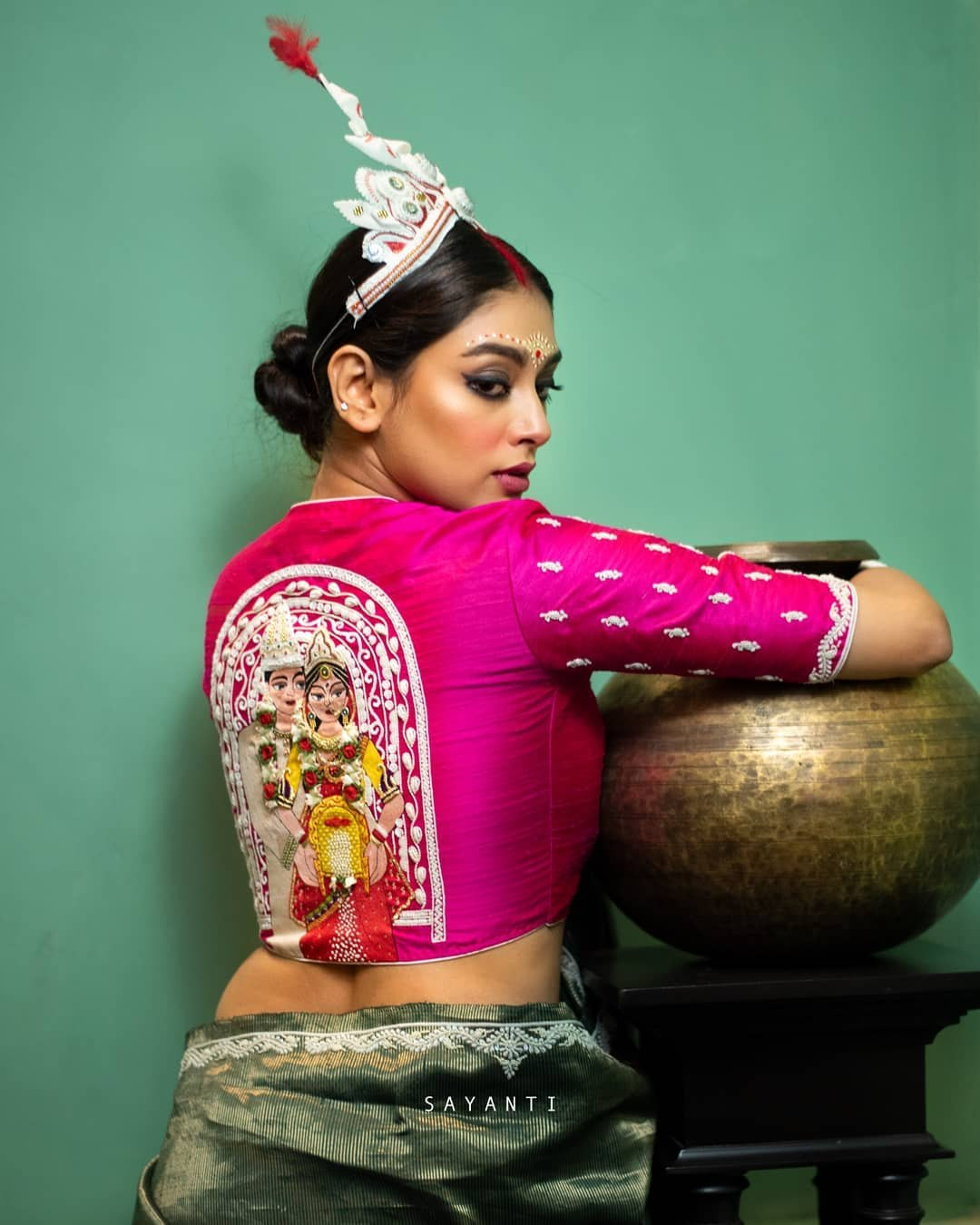Pink khoi fela art work bridal blouse-Sayanti ghosh-1