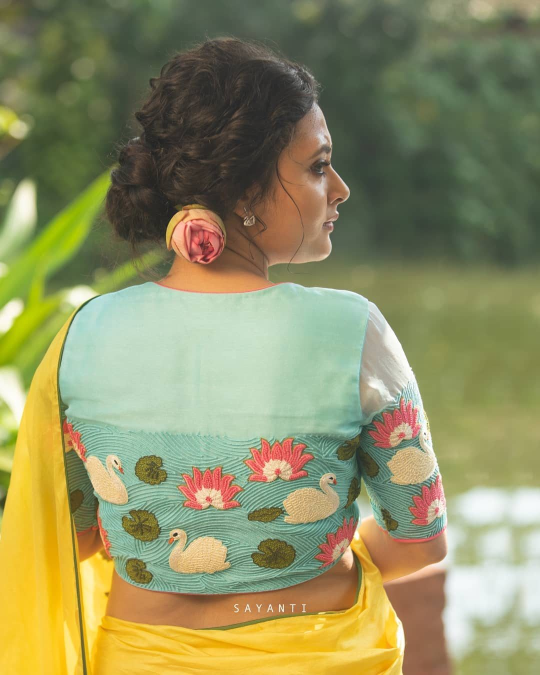 Pond scenery embroidery blouse-Sayanti ghosh