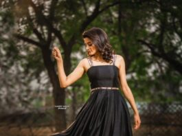 Priyamani raj in a custom made black dress my mehak shetty for dhee kings