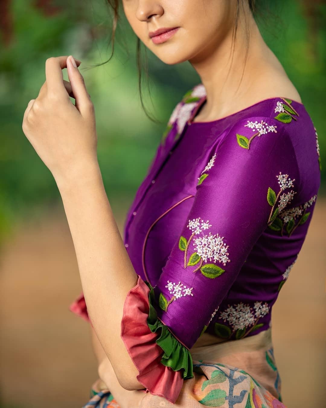 Purple embroidered blouse-Sayanti Ghosh