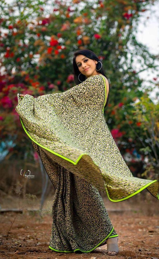 Rashmi Gautam in animal print saree by Shruti clothing-4