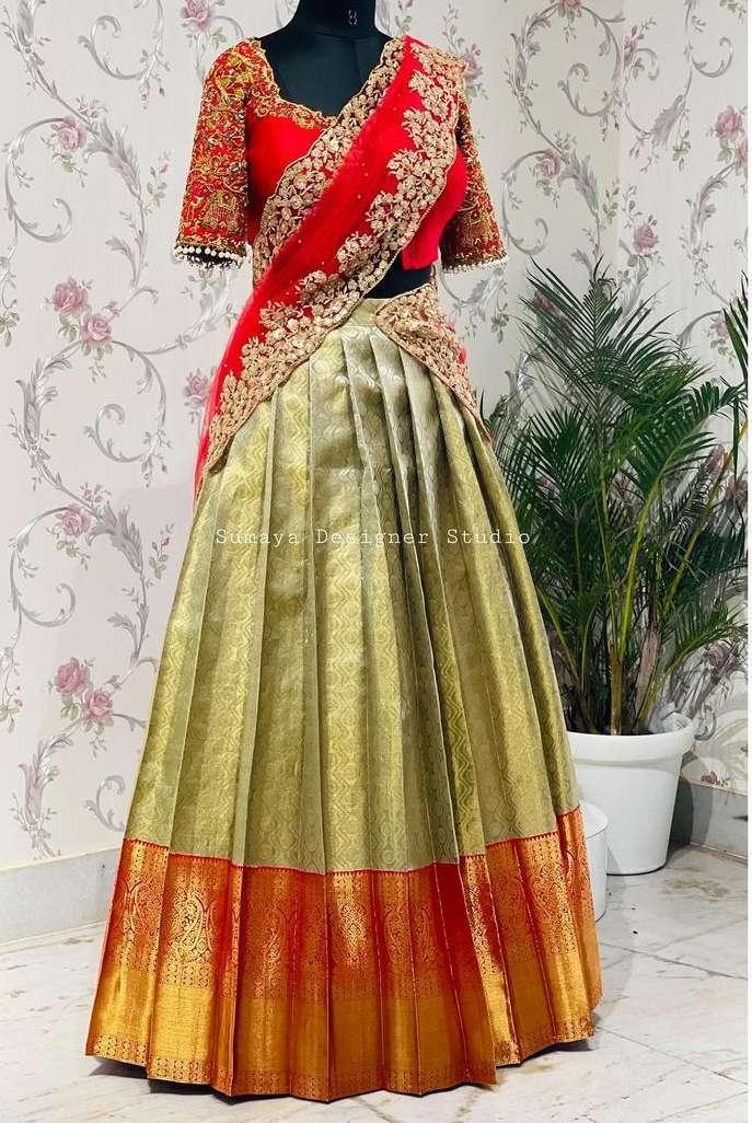 Red and mint green half saree-Sumaya Designer-1