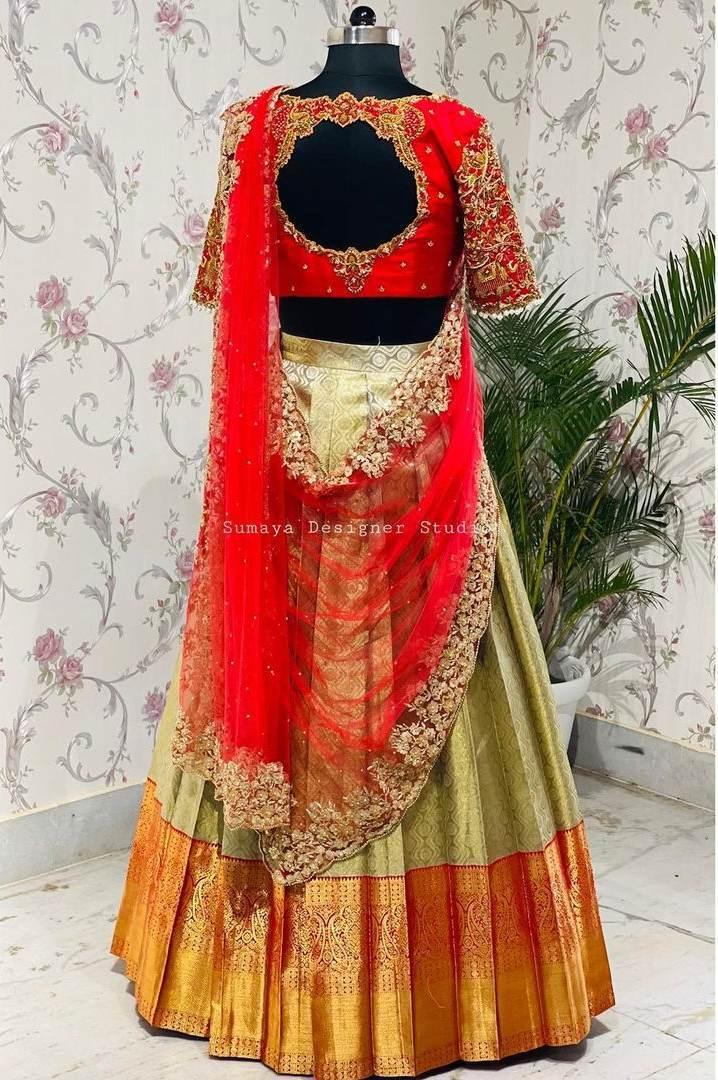Red and mint green half saree-Sumaya Designer