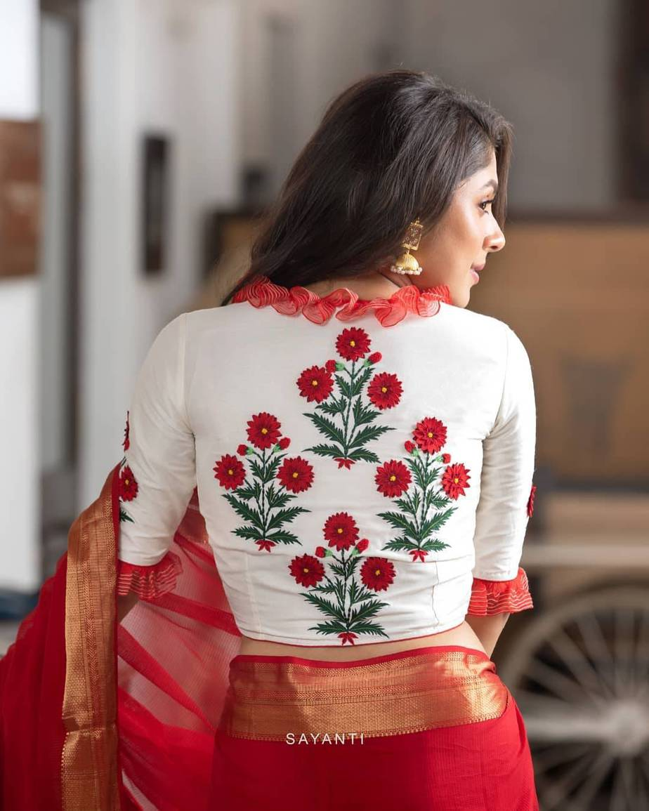 Red saree with floral blouse-Sayanti Ghosh
