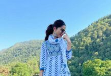 Ruhani Sharma in off white Kurta set by Mehi Jaipur