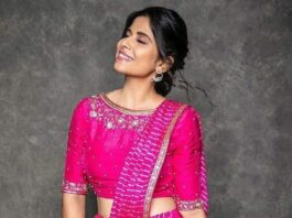 Sai Tamhankar in pre-draped pink leheriya set by label nithisha-1