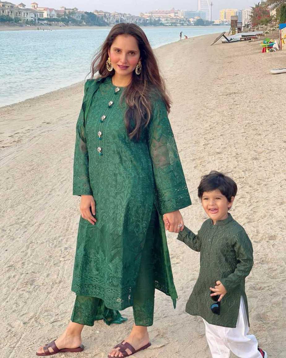 Sania Mirza in green kalidar by Nomi Ansari