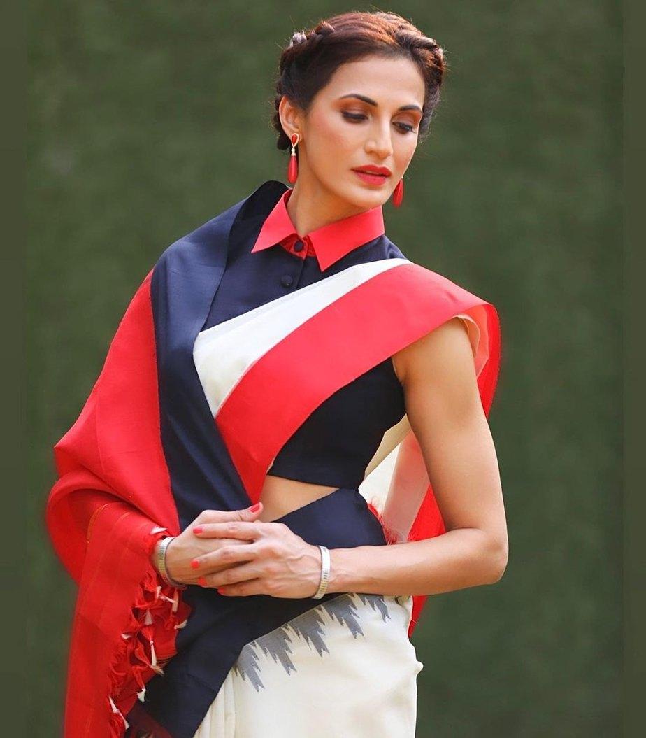 Shilpa Reddy in a cream Kankatala saree for q&a-1