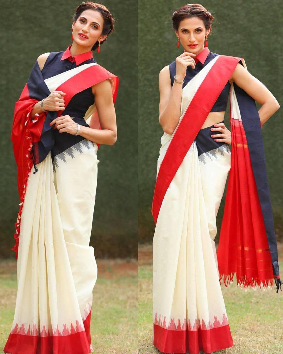Shilpa Reddy in a cream Kankatala saree for q&a-2