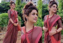 Shraddha Das in a brick red saree for Ek mini katha show-featured