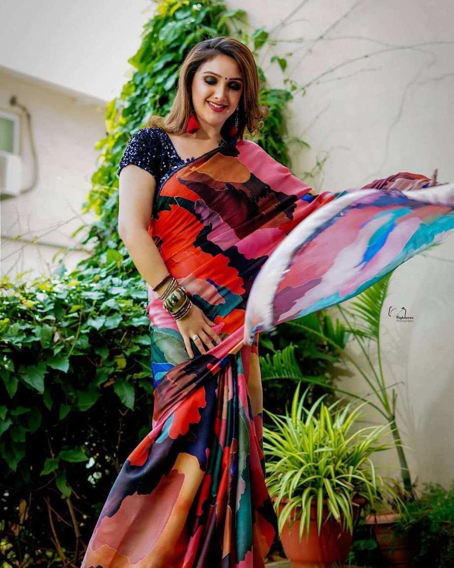 Sridevi vijaykumar in a multi colour saree by Mugdha art studio for comedy stars-2