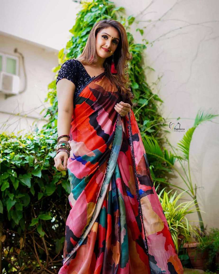 Sridevi vijaykumar in a multi colour saree by Mugdha art studio for comedy stars