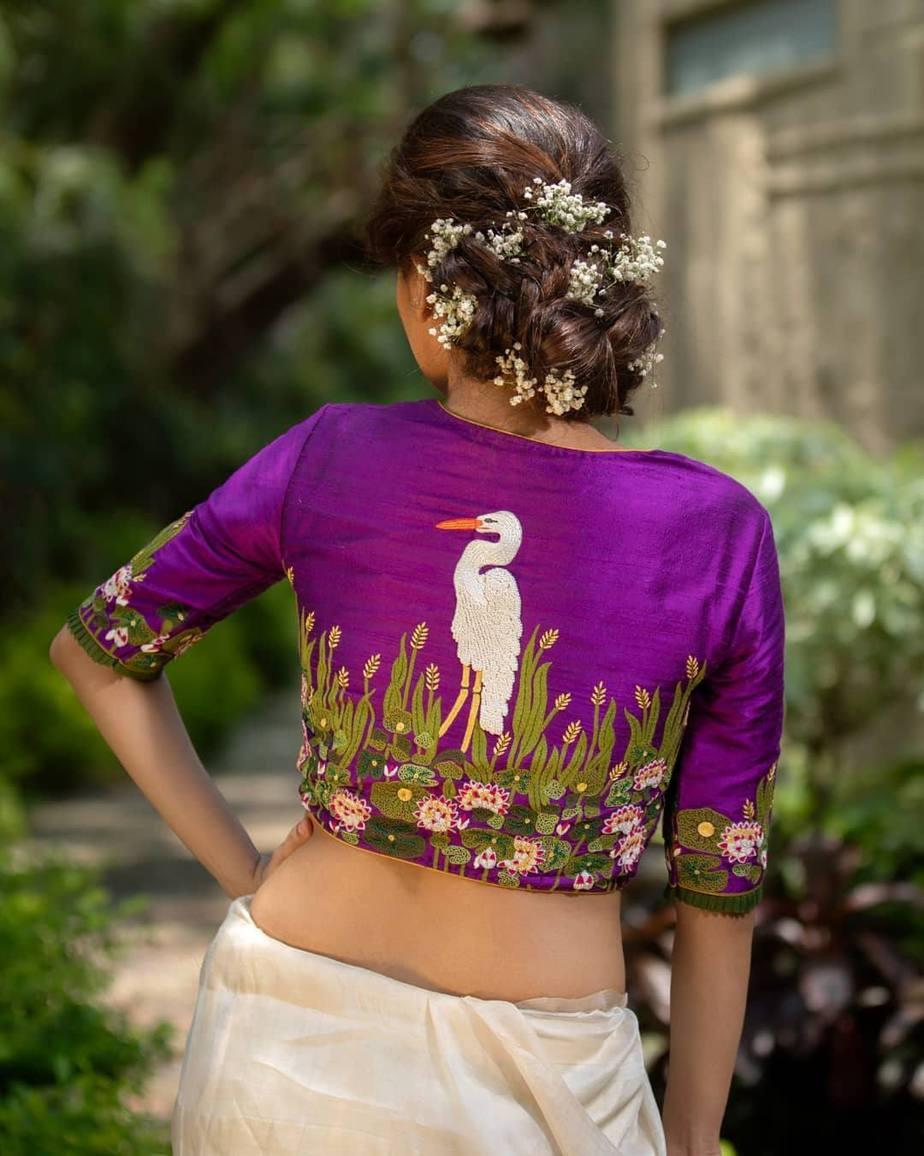 Stork embroidered blouse-sayanti Ghosh-1