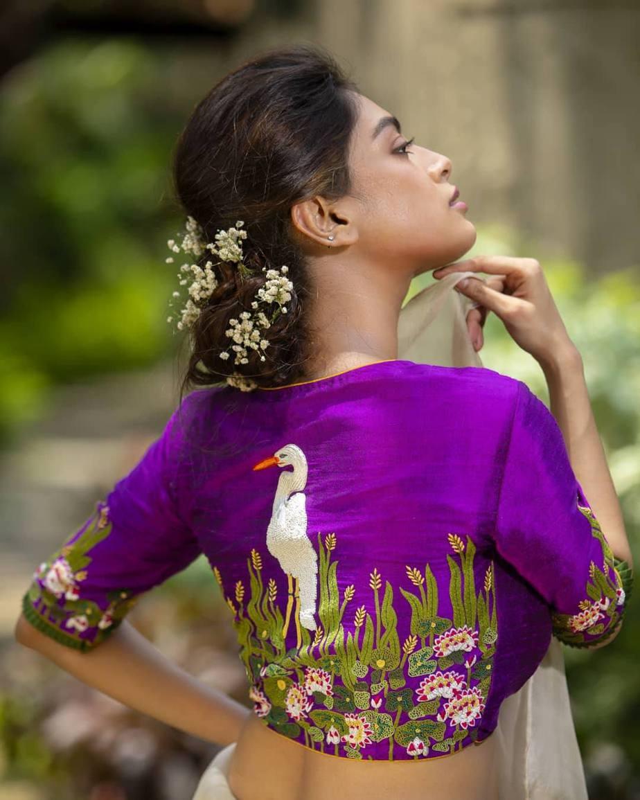 Stork embroidered blouse-sayanti Ghosh