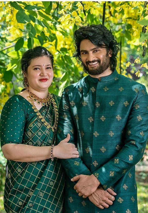 Sudheer Babu in green ethnic wear by raamz for son's dhoti ceremony-3