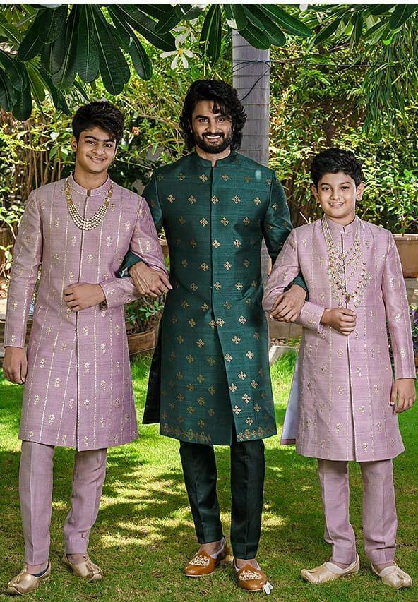 Sudheer Babu in green ethnic wear by raamz for son's dhoti ceremony-4