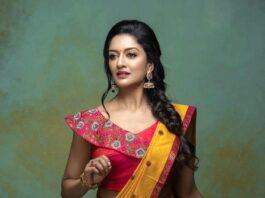 Vimala Raman in a half saree by Anya boutique-3
