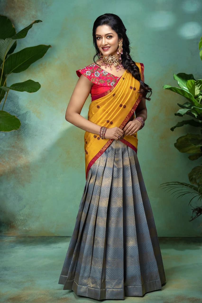 Vimala Raman in a half saree by Anya boutique
