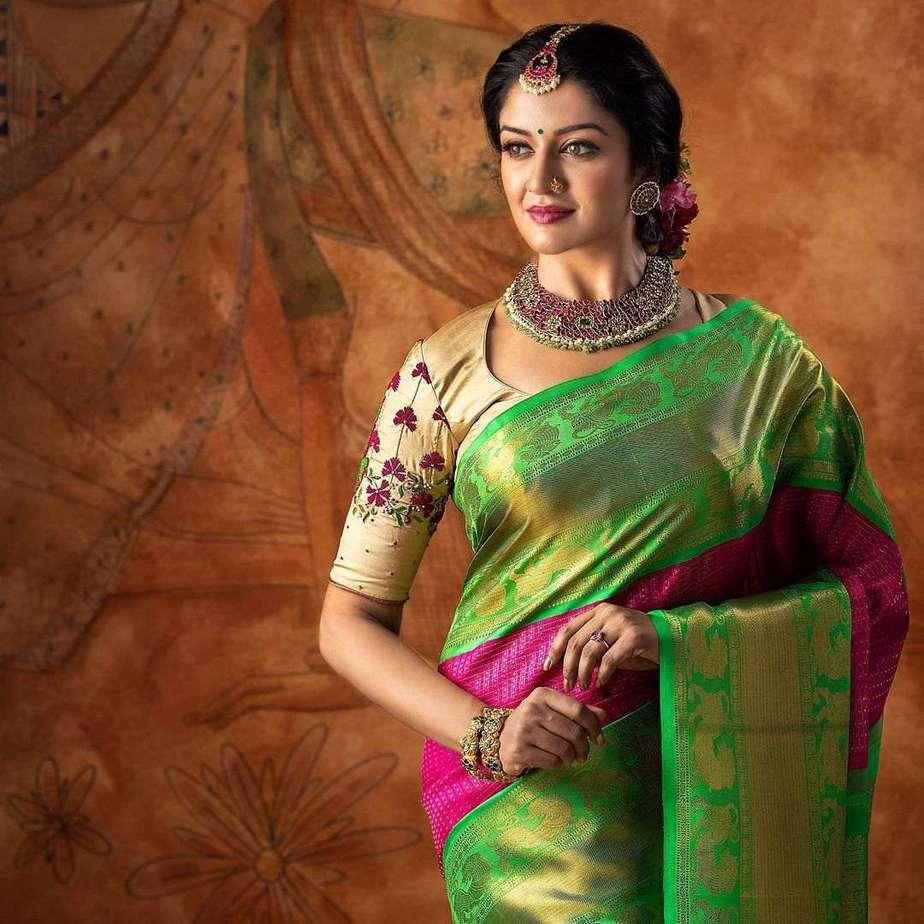 Vimala Raman in pattu saree by anya boutique-1