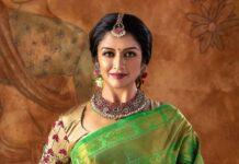Vimala Raman in pattu saree by anya boutique