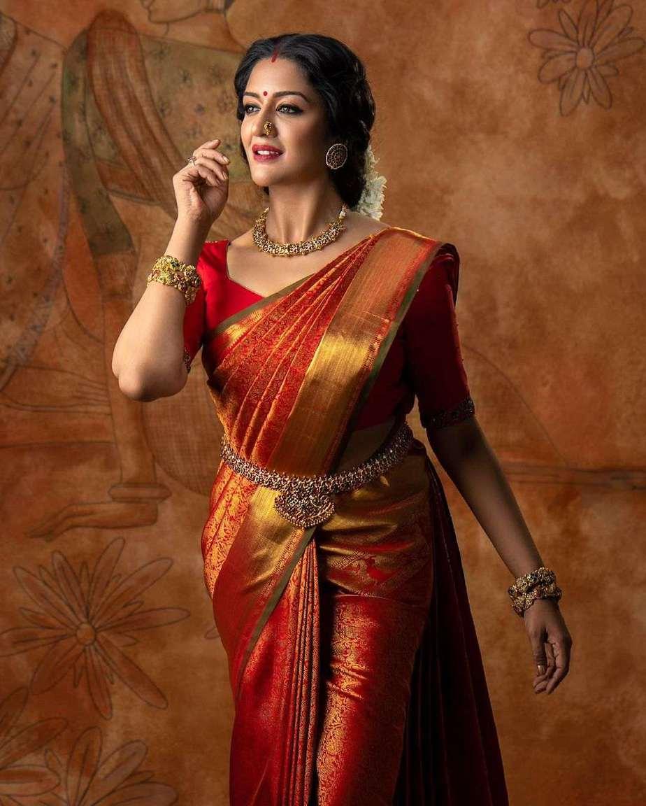 Vimala Raman in red kanchi saree by Anya Boutique-2
